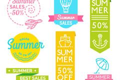 7款清新夏季销售贴纸矢量图