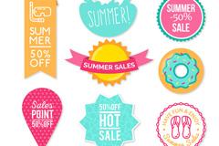 8款彩色夏季销售贴纸矢量图