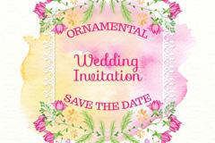 水彩绘花卉和蝴蝶婚礼邀请卡矢量图