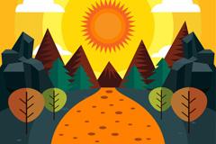 扁平化森林日落风景矢量素材
