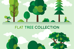 6款扁平化绿色树木矢量素材