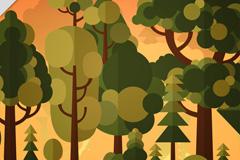 创意黄昏森林风景矢量素材