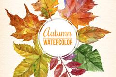 水彩绘秋季树叶框架矢量素材