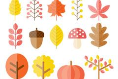 14款扁平化秋季植物矢量素材