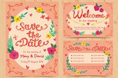 2款彩绘婚礼邀请卡矢量素材