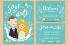 2款水彩绘新人婚礼邀请卡矢量图