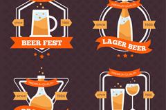 4款创意优质啤酒标签矢量图