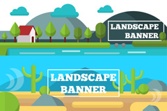 3款绿色自然风景banner矢量素材