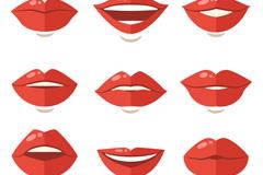 9款扁平化红色嘴唇设计矢量素材