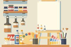 整洁画室墙壁设计矢量素材