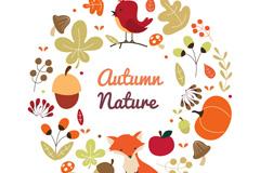 创意秋季小鸟和狐狸元素花环矢量