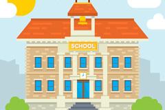 创意校园教学楼设计矢量素材