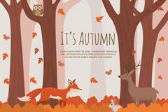 秋季森林中的动物矢量素材