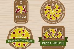 4款创意披萨徽章矢量齐乐娱乐