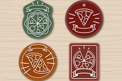 4款精致披萨徽章设计矢量图