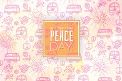 彩绘车和花卉国际和平日无缝背景矢量图