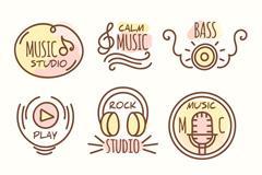 6款手绘音乐工作室标志矢量素材