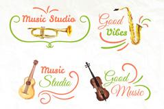 4款彩绘乐器音乐工作室标志矢量图
