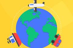 卡通世界旅行日地球矢量素材