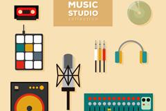 8款扁平化音乐工作室器材矢量图