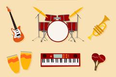 8款创意音乐工作室乐器矢量素材