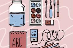 10款彩绘绘画工具设计矢量素材