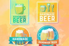 4款彩绘手工啤酒标签矢量图