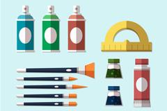 12款扁平化绘画工具矢量素材