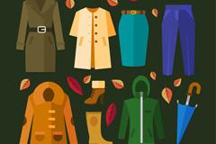 9款创意秋季服饰与配饰矢量图