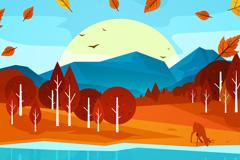 秋季森林河边喝水的鹿矢量素材