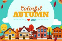 彩色秋季城镇风景矢量素材