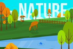 创意树林和食草的鹿自然风景矢量