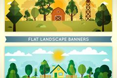 2款创意农场白天和黄昏风景矢量图
