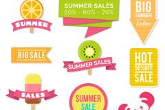 8款清新夏季促销贴纸矢量图