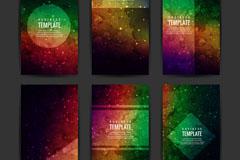 6款混色水彩时尚卡片矢量素材