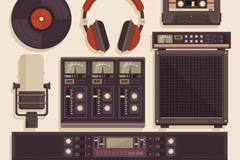 7款复古音乐工作室元素矢量齐乐娱乐
