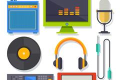 8款彩色音乐工作室设备矢量齐乐娱乐