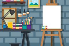 创意砖墙画室设计矢量素材