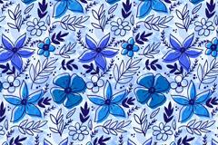 蓝色花朵和叶子无缝背景矢量图
