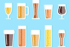 10款扁平化酒类杯子设计矢量素材