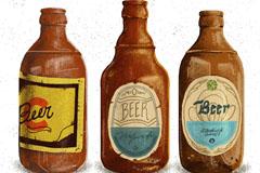3款复古瓶装酒类设计矢量素材
