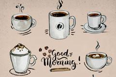 8款手绘咖啡设计矢量素材