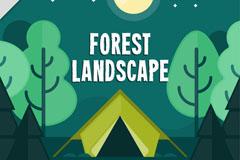 夜晚绿色树林和帐篷风景矢量图