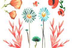 7款水彩绘花卉设计矢量素材