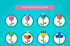 12款扁平化花朵设计矢量素材