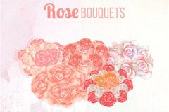 水彩绘5种玫瑰花束矢量素材