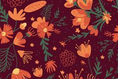 橙色花朵无缝背景矢量素材