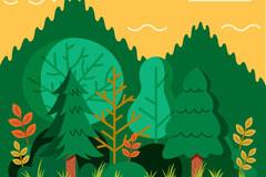 绿色树林树木设计矢量素材
