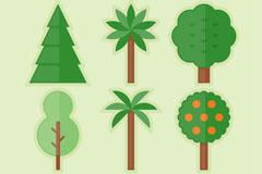 6款创意绿色树木矢量素材