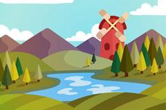 扁平化河流和风车风景矢量素材